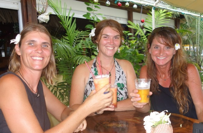 New Year's Eve 2014 in Huahini, French Polynesia: Liesbet, Monique and Rachel