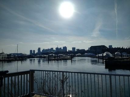 Winter sun above Boston