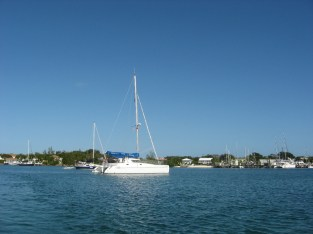 Irie anchored in Green Turtle Cay in 2008