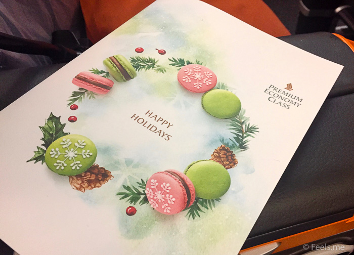 Singapore Airlines PVG SIN Premium Economy Meal Menu