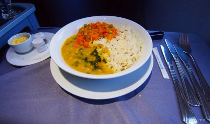 United UA2 SIN SFO: Indian rice with dal