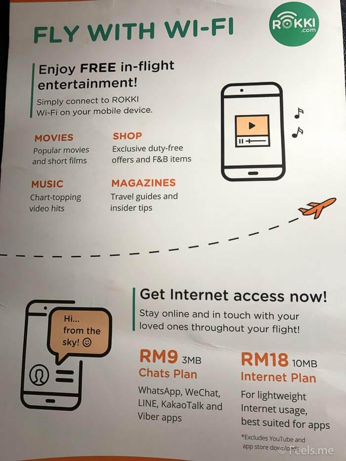 Air Asia SIN BKI Review Wifi plan
