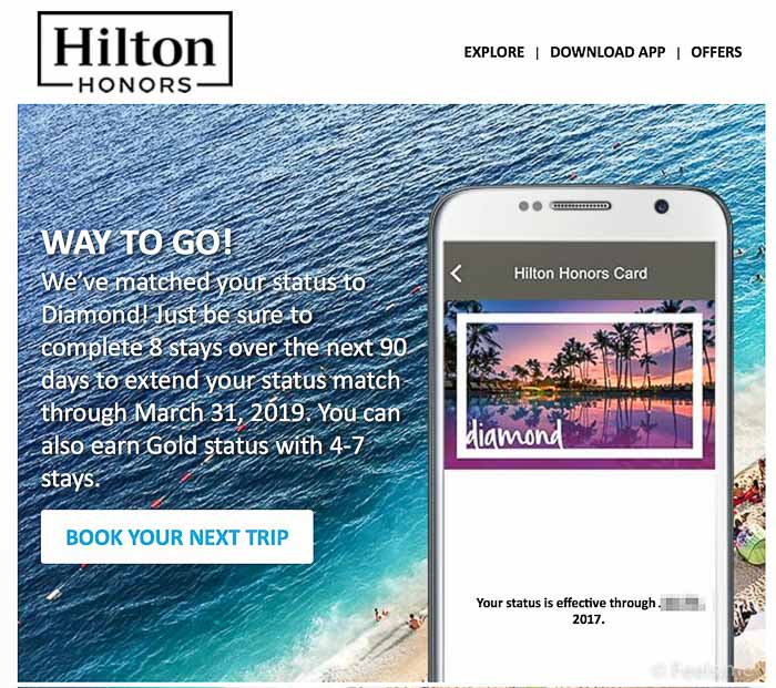 Run for Diamond Hilton Status Match 2017 Confirmation for Status Match