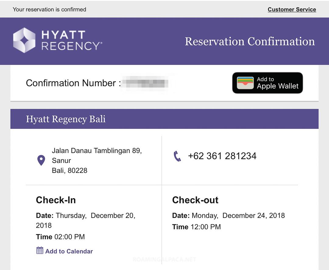 Hyatt Regency Bali Confirmation Dec 2018 002