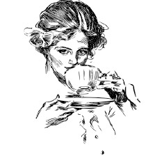 Woman sipping tea.