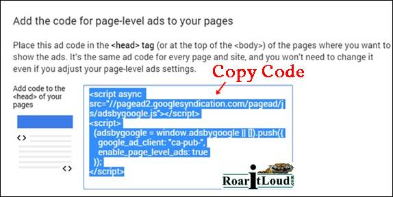 Click Get code and copy code page level ads