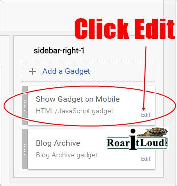 Edit Gadget to show Gadget on Mobile view version Step 4