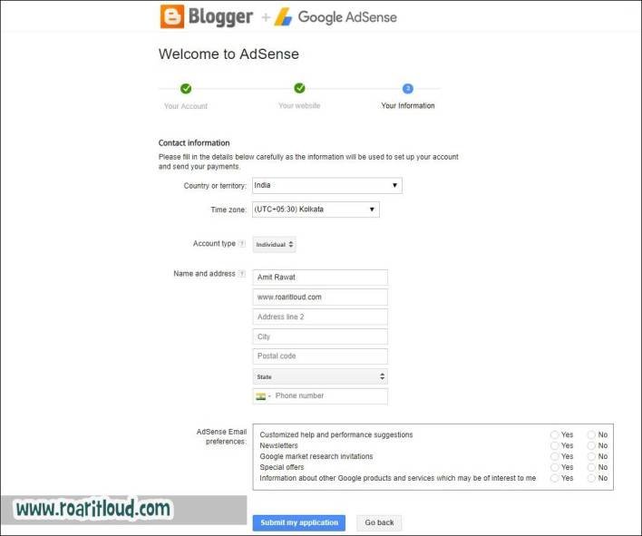 Apply for adsense submit Application fill your information