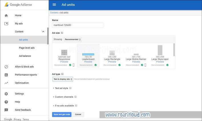 create ad unit in adsense fill details of adsense ads