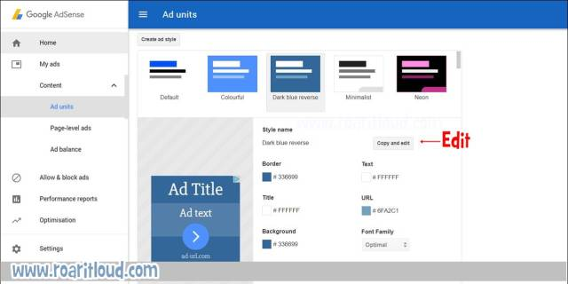 edit ad unit ad style according to your website theme