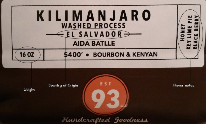 PT's Coffee label example