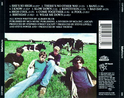 High Cool - Blur's Leisure rear cover. Food Records. Rob Gregory Author
