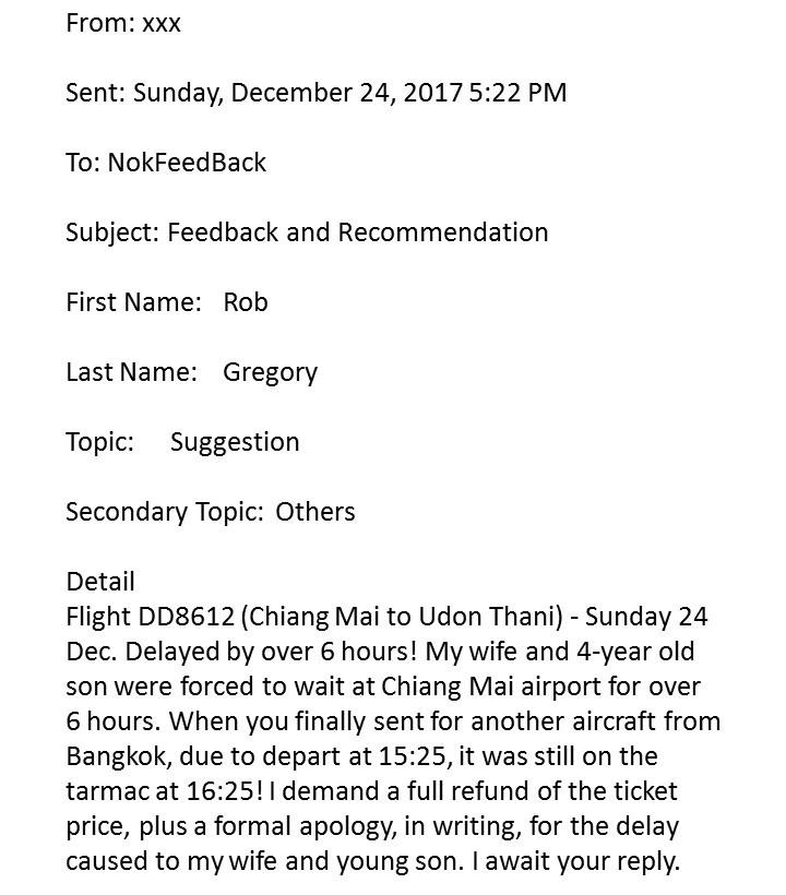 Nok Air - My original complaint letter. Rob Gregory Author