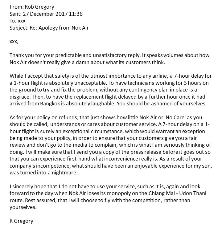 Nok Air - My initial reply. Rob Gregory Author