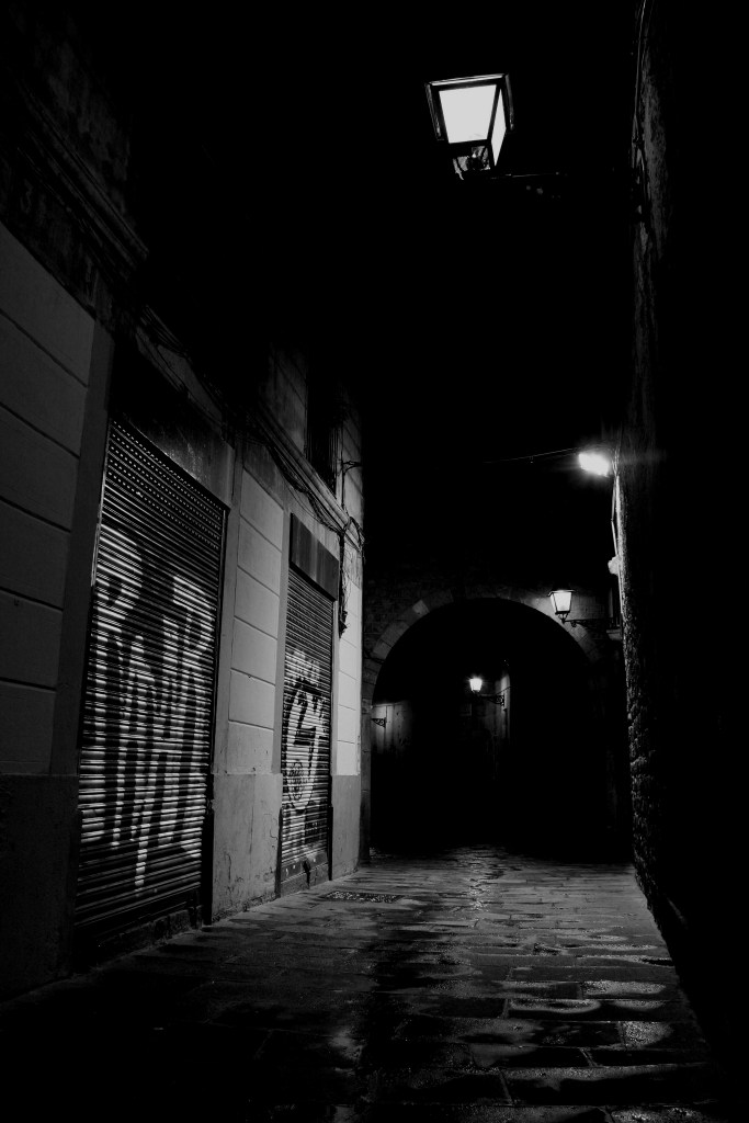 Alley in Barcelona in B&W. Struggling author. Rob Gregory Author