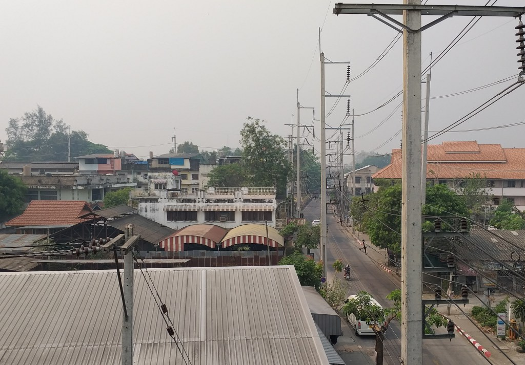 Chiang Mai street, showing smog in the air - Rob Gregory Author