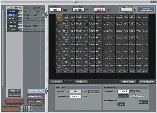 La schermata di configurazione I/O della console Digico SD12