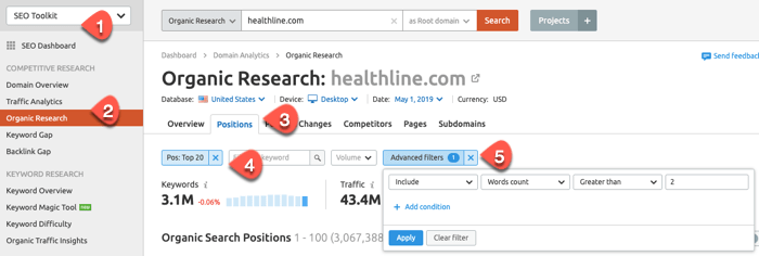 Extracting long tail keyword ideas from competitors inside SEMrush