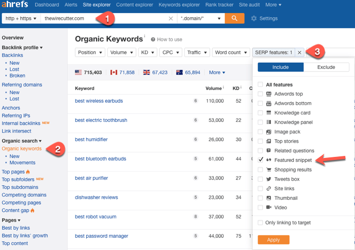 Finding existing featured snippet opportunities in Ahrefs
