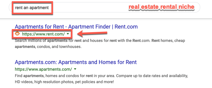 Barnacle SEO example in the real estate niche