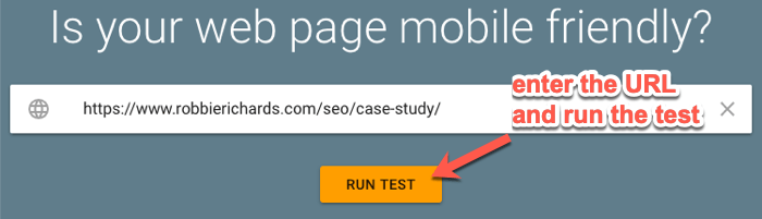 Google's mobile-friendly testing tool