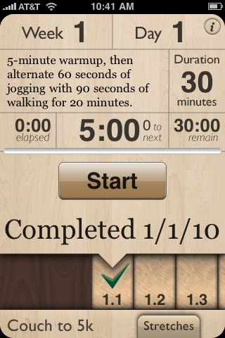 Couch to 5k iPhone app