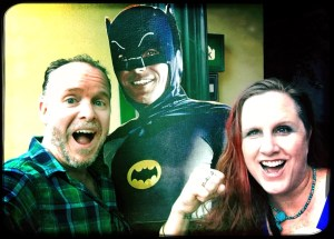 Rob and Megan with Batman