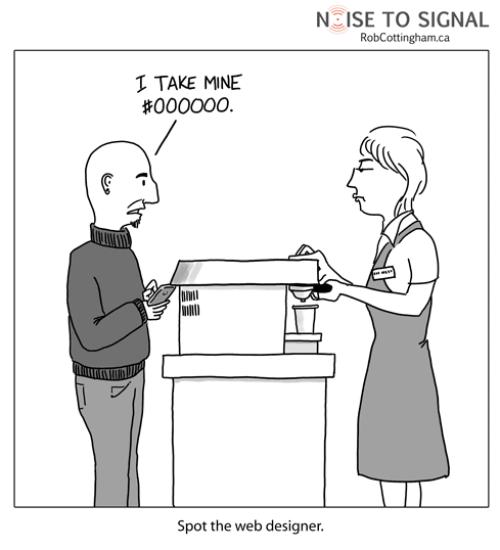 web designer ordering his coffee #000000