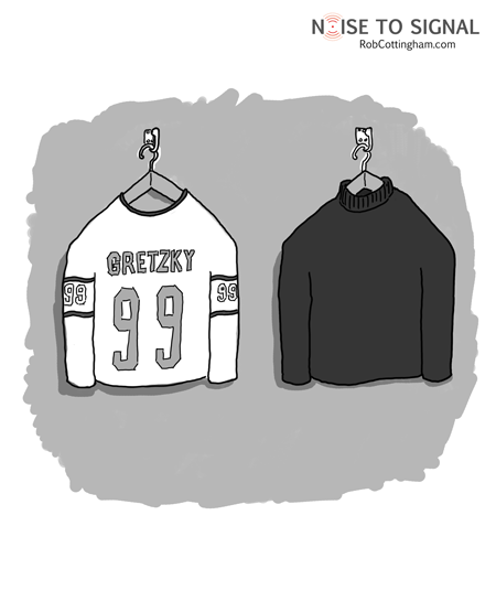 Two sweaters, hung side by side: one Gretzky's, the other a black mock turtleneck