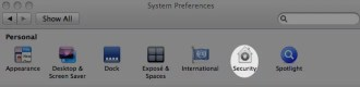 System Preferences with 'Security' highlighted