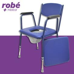chaise percee a hauteur reglable avec accoudoirs