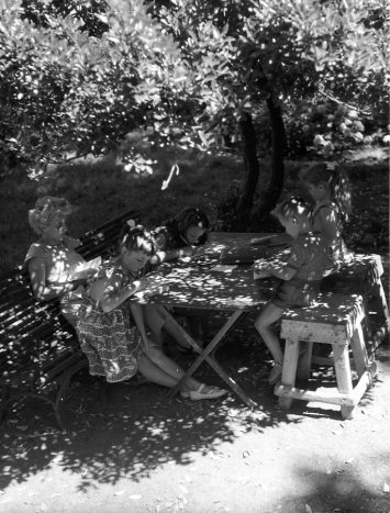 Dappled light falls through a leafy tree onto the peaceful scene of a mother and her four children reading and writing at a folding table.