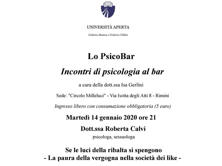 La paura della vergogna nella società dei like | Università Aperta Rimini | 14 gennaio 2020 h 21 Circolo Milleluci | Roberta Calvi Psicologo Sessuologo