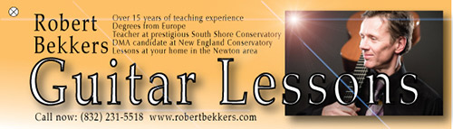 Robert Bekkers, classical guitar teacher, tel: (832) 231 5518 Newton, MA