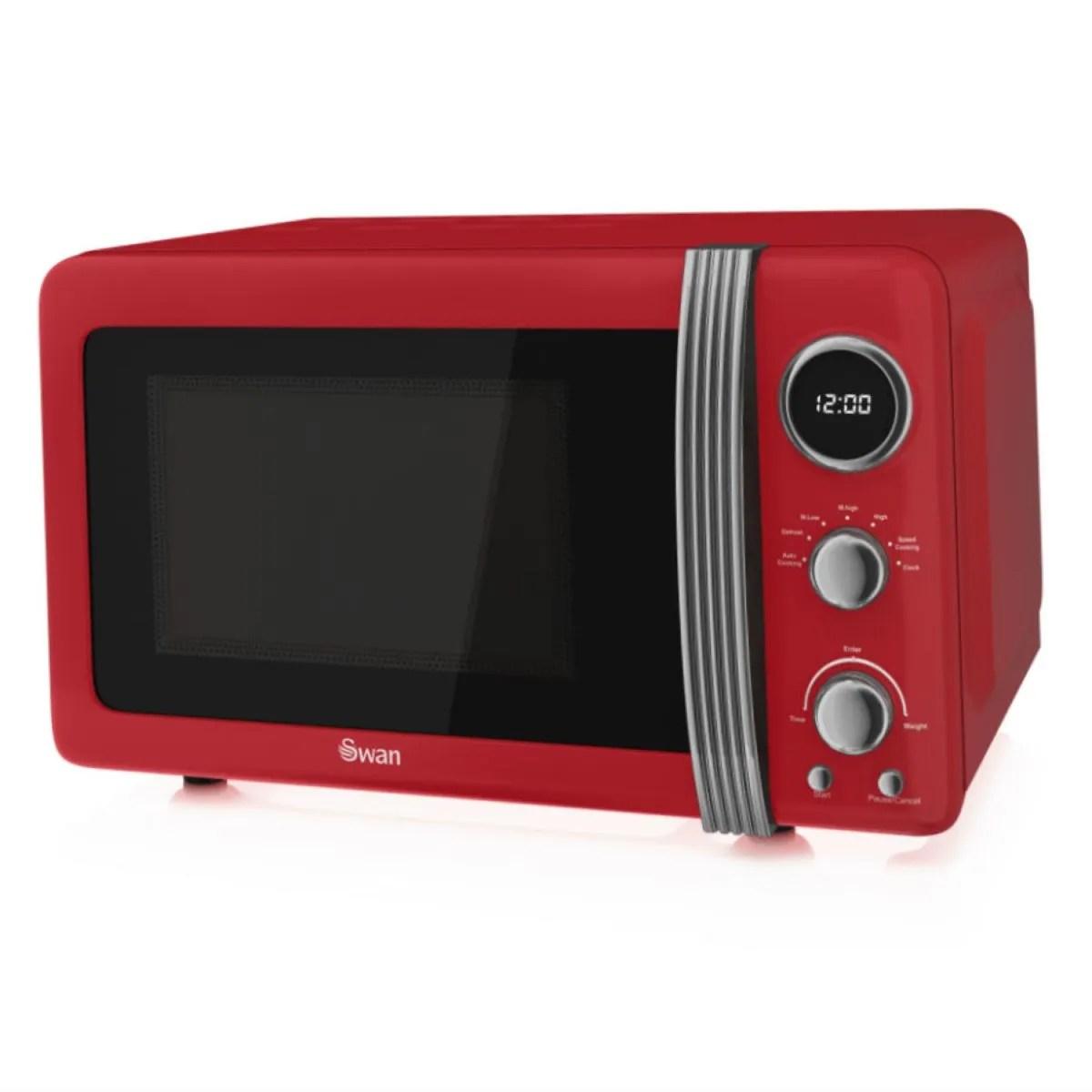 swan sm22030rn retro 800w 20l digital solo microwave red