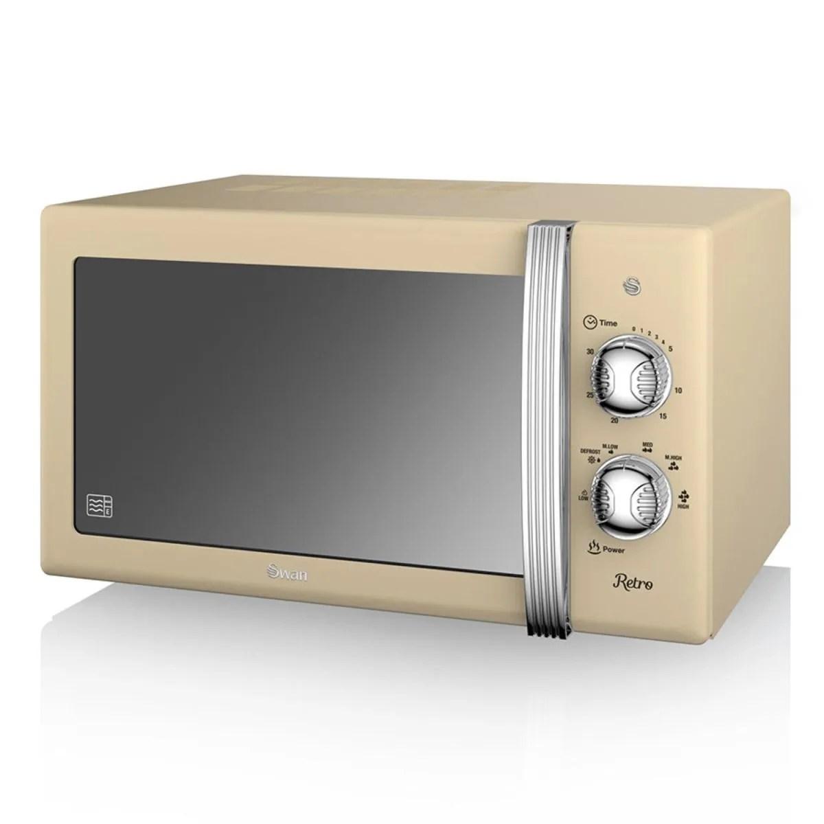 swan retro sm22130cn 800w 20l solo manual microwave cream