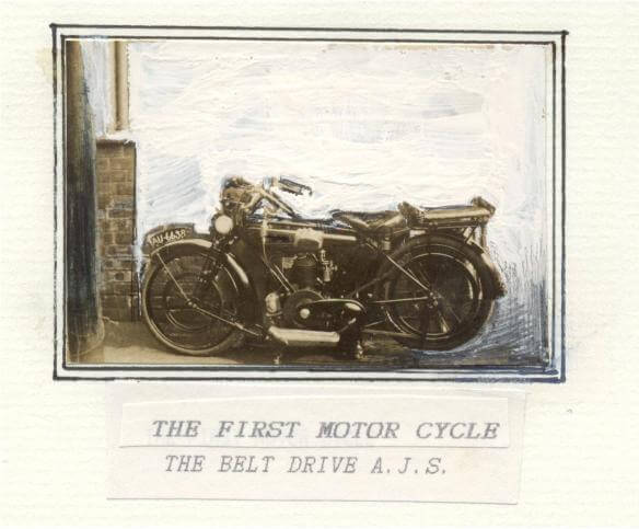 First motor cycle - belt drive A. J. S.