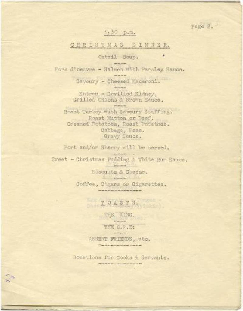 Paiforce Xmas menu, 1942
