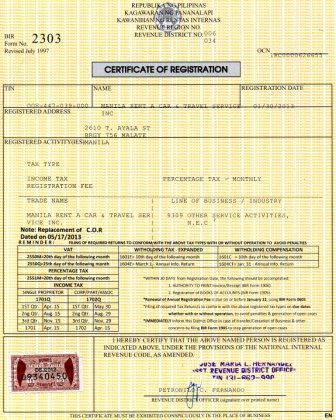 certificate of registration - bir r