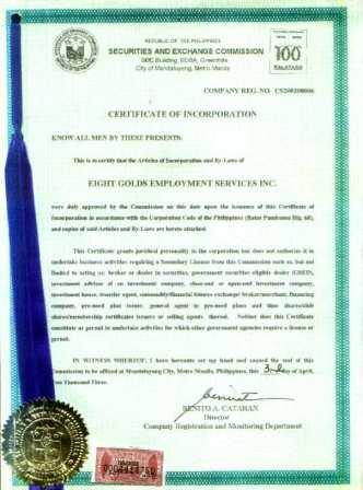 certificate of registration - sec p