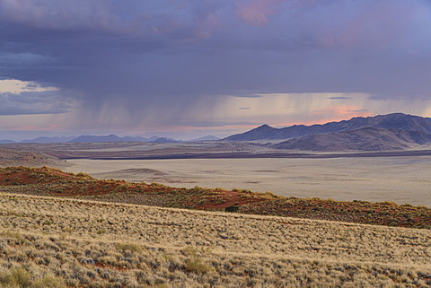 Some much needed rain falls in the distance at dusk in NamibRand Nature Reserve, Namib Desert, Namibia, Africa