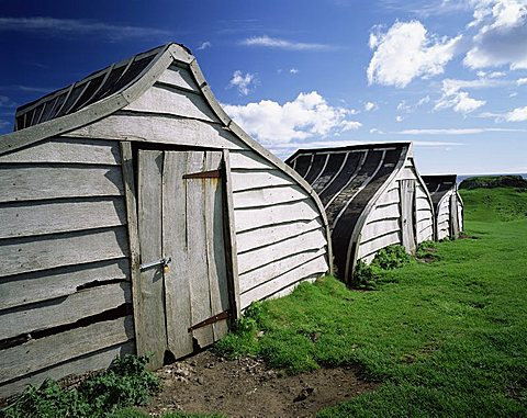 Fishermen's huts, Lindisfarne, Holy Island, Northumberland, England, United Kingdom, Europe