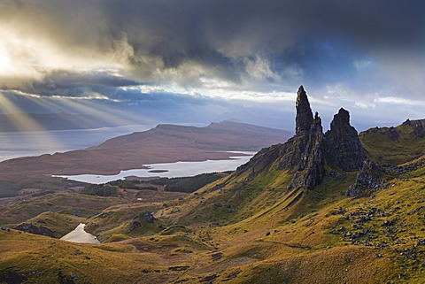 Dramatic landscape at the Old Man of Storr, Isle of Skye, Inner Hebrides, Scotland, United Kingdom, Europe