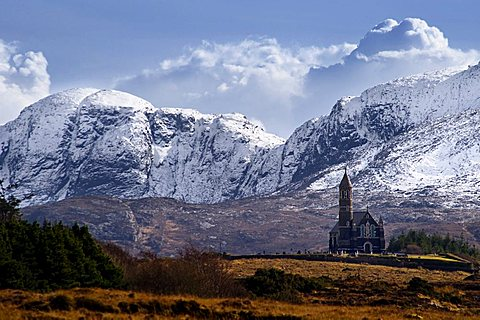 Dunlewey church with the Derryveagh mountains behind in Donegal, Dunlewey Roman Catholic Church, County Donegal, Ireland