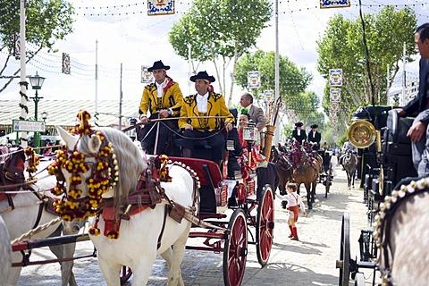 Horse and carriages at the annual fiesta in Sevilla, Feria de Abril, Sevilla, Province Sevilla, Andalucia, Spain