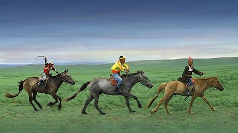 Horse race, Nadaam festival, Gobi Steppe, Mongolia, Asia