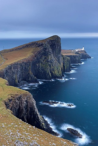 Neist Point Lighthouse, the most westerly point on the Isle of Skye, Scotland. Winter (November) 2013.