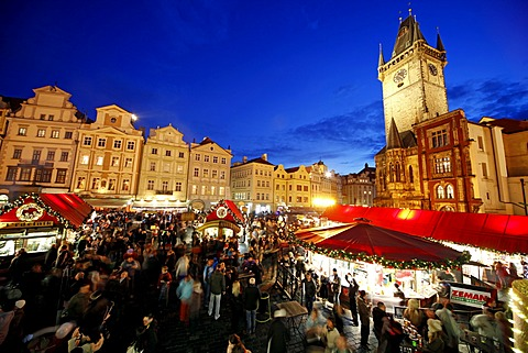 Christmas Market And Old Town Hall, Prague, Czech Republic,
