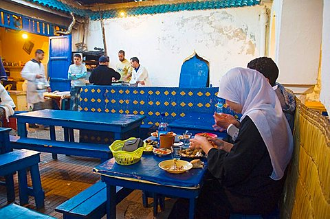 Restaurant at fish souq market in Mellah the old Jewish quarter of Essaouira central Morocco northern Africa