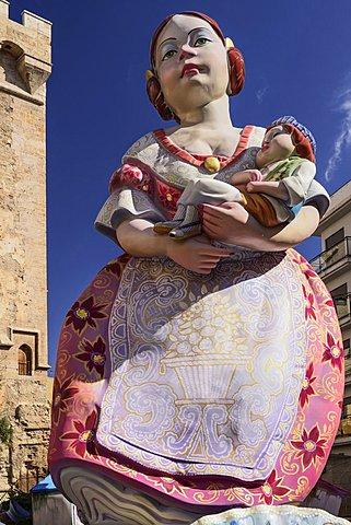 Spain, Valencia Province, Valencia, Las Fallas festival, Papier Mache figure at Torres de Quart.